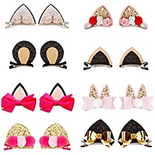 Sufermee 16 Pcs Baby Girls Cat Ear Hair Bows Clips Rabbit Ear Hair Barrettes Hair Accessories for Toddlers Girls Teens Kids (8 pairs)