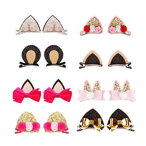 Sufermee 16 Pcs Baby Girls Cat Ear Hair Bows Clips Rabbit Ear Hair Barrettes Hair Accessories for Toddlers Girls Teens Kids
