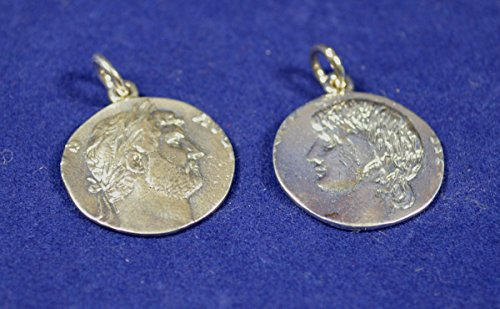 Antinous and Hadrian Sterling Silver Coin Pendants Medallions Set