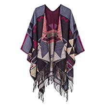 Urban CoCo Women's Printed Tassel Open front Poncho Cape Cardigan Wrap Shawl (Wine red-series 2)