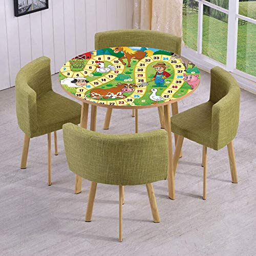 Round Table/Wall/Floor Decal Strikers/Removable/Rustic Farmhouse Agricultural Environment Animals Spring in Woods Nursery Decor/for Living Room/Kitchens/Office Decoration -