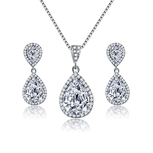 (Crystal Jewelry Set for Women - Charming Pear-Shape Sterling Silver Full Teardrop Cubic Zirconia Bridal Pendant Necklace Dangle Earrings Set for Prom Party Wedding Jewelry Set for Bride Bridesmaids)