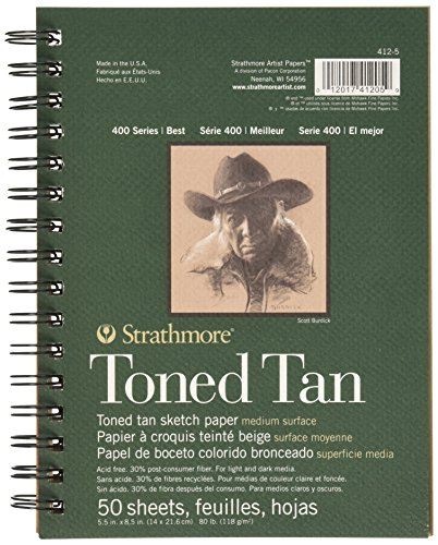 Strathmore Spiral Toned Sketch Book 5.5″X8.5″-Tan 50 Sheets