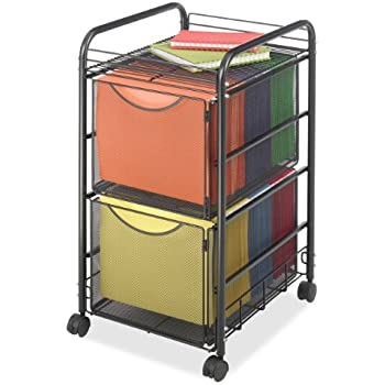 Superior Safco Products 5212BL Onyx Mesh File Cart With 2 File Drawers, Letter Size,  Black
