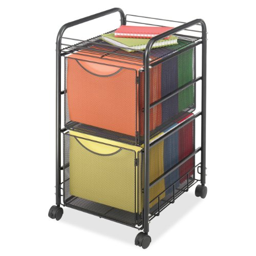 Safco Products 5212BL Onyx Mesh File Cart with 2 File Drawers, Letter Size, Black Drawer Letter Black File Cabinets