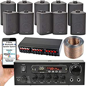 5 ZONE BLUETOOTH SPEAKER KIT – 10x Wall Mounted Black Speakers, 110W Mini Stereo Smart Home Amplifier, Splitter & Cable…