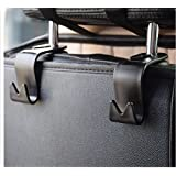 Car Storage Hooks Back Seat Headrest Hooks – Coat Purse Handbag Grocery Bag Holder (Set of 4) Mayco Bell (Black)