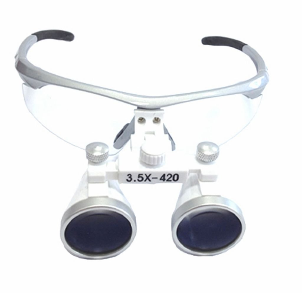 Silver Dental Surgical Medical Binocular Loupes 3.5 X 420 mm Optical Glass Bestdental