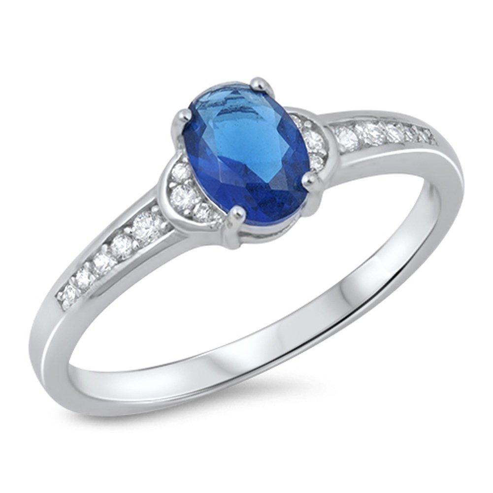 Oval Blue Simulated Sapphire Beautiful Ring New .925 Sterling Silver Band Size 8