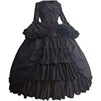 TIFENNY Fashion Prom Dresses for Women Vintage Gothic Court Square Collar Patchwork Bow Dress Long Bell Sleeve