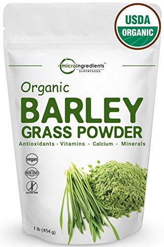 (Sustainably US Grown, Organic Barley Grass Powder, 1 Pound, Rich Fiber, Vitamins, Minerals, Antioxidants, Chlorophyll, Essential Amino Acids and Protein. Non-Irradiated, Non-GMO and Vegan Friendly.)