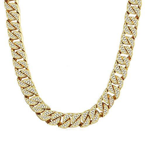 Huaming 13mm Mens Iced Out Chain Necklace Hip Hop Gold Tone CZ Miami Cuban Link Chain Choker Necklace -