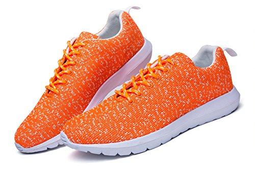 Mens & Womens Running Shoes Lightweight Mesh Outdoor Fashion Sneaker by JiYe Orange pjX81fTA