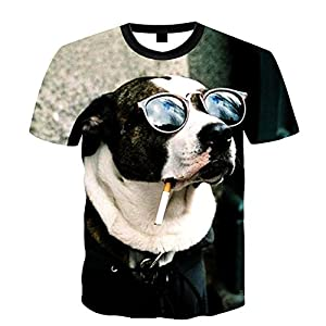 Desinger Station Men's 3D Sunglasses Dog Printed Summer Casual Sleeve T-Shirt