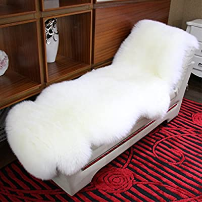 Really Soft Genuine Sheepskin Rug, TwoPelt , Double 2 Skins Natural Fur white/ivory ( 7 ft.-2.5 ft. ) DYSO-0004