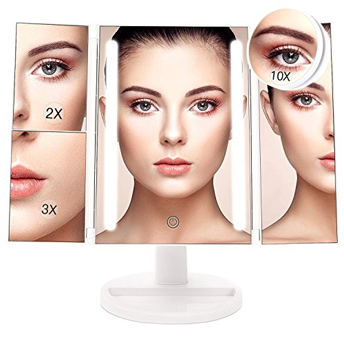 BESTOPE 24 LED Makeup Vanity Mirror with 3X/2X Magnification,Detachable 10X Magnifying Mirror,Touch Screen, 180°Adjustable Rotation, Dual Power Supply, Countertop Costmetic Mirror