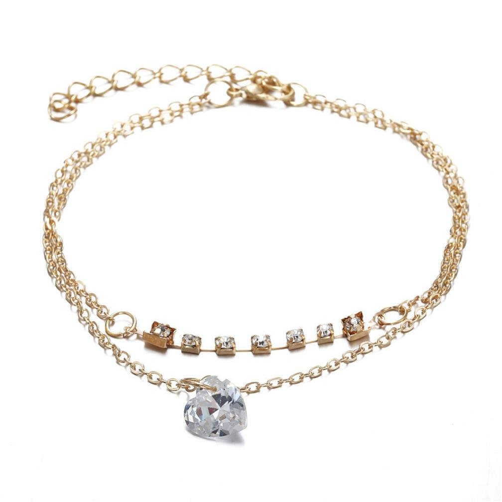 Wensltd Clearance! Womens Girls Metal Anklet Crystal Rhinestones Ankle Bracelet Chain Gold Silver (Gold)