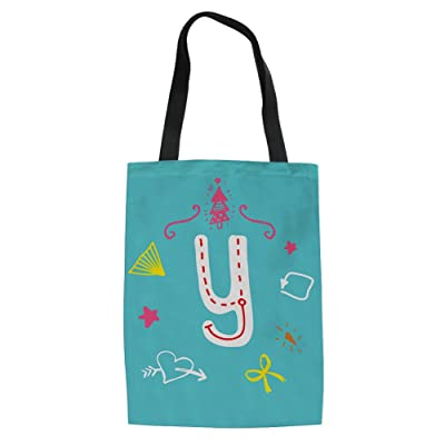 doginthehole Alphabet Printed Canvas Shopper Shoulder Book Bag Handbag Tote Bag