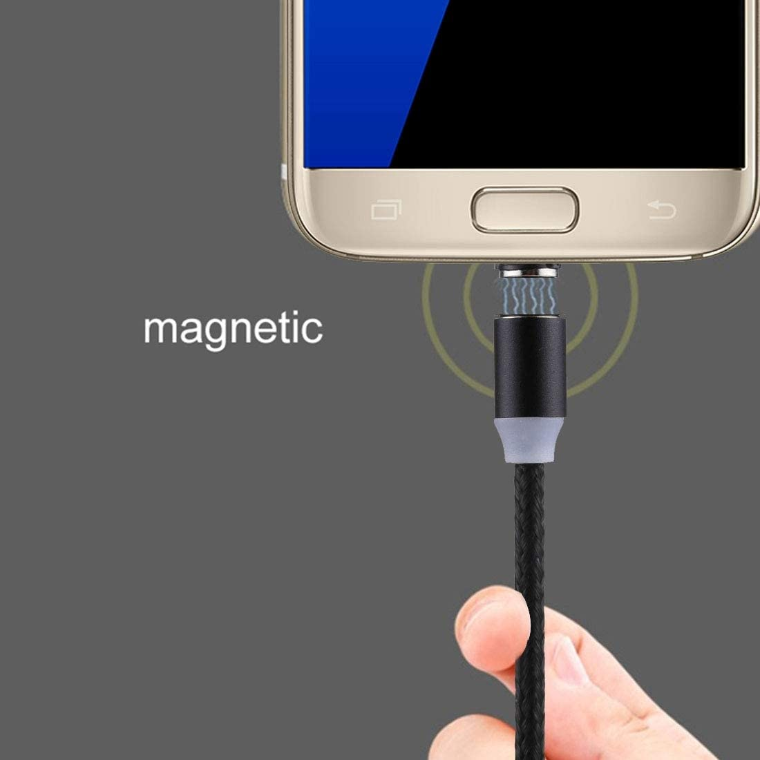 LG//HTC and Other Smartphones Xiaomi//Meizu For Samsung//Huawei Data Cables 1m Weave Line USB to Micro USB Magnetic Charging Cable