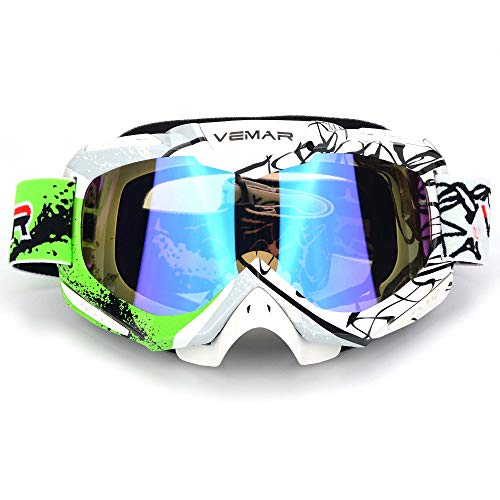 Polarized Sport Motorcycle Motocross Goggles ATV Racing Goggles Dirt Bike Tactical Riding Motorbike Goggle Glasses, Bendable Windproof Dustproof Scratch Resistant Protective Safety Glasses