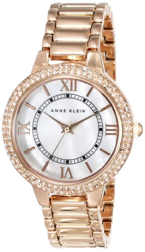 Anne klein women 39 s ak 1498mprg swarovski crystal accented rose gold tone bracelet watch buy for Anne klein rose gold watch set