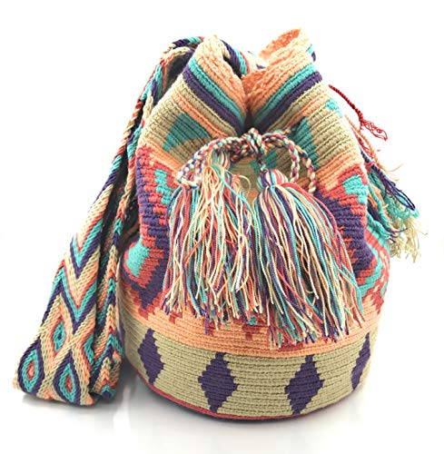 tanto Artesanales Wayuu para de hombre mujer unico diseño Medianoche para STYLE mochila como Bolsos COLOMBIAN Colombianos nx1p1T