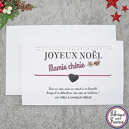 Carte De Voeux Joyeux Noel Mamie Chérie Bracelet Porte Bonheur Cœur Inox Enveloppe Fabriqué En France Idée Cadeau De Noël Pour Mamie Et