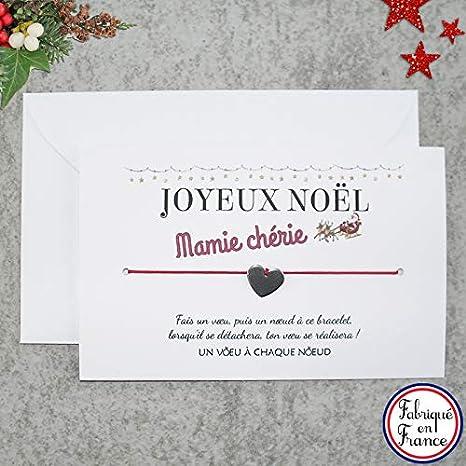 Joyeux Noel Mere Noel.Carte De Voeux Joyeux Noel Mamie Cherie Bracelet Porte Bonheur Cœur Inox Enveloppe Fabrique En France Idee Cadeau De Noel Pour Mamie Et