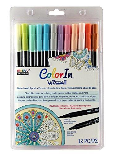 Marker Double Tip America (Uchida 12 Piece Colorin Le Plume II Coloring Book Pens, Pastel)