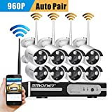 Smonet 8CH 960P Wireless Home Surveillance Security Camera System(WIFI NVR Kit),8pcs 1.3MP WIFI Bullet IP Cameras,Support Motion Detection Alarm and Remote View by ISO or Android App,No Hard Drive For Sale