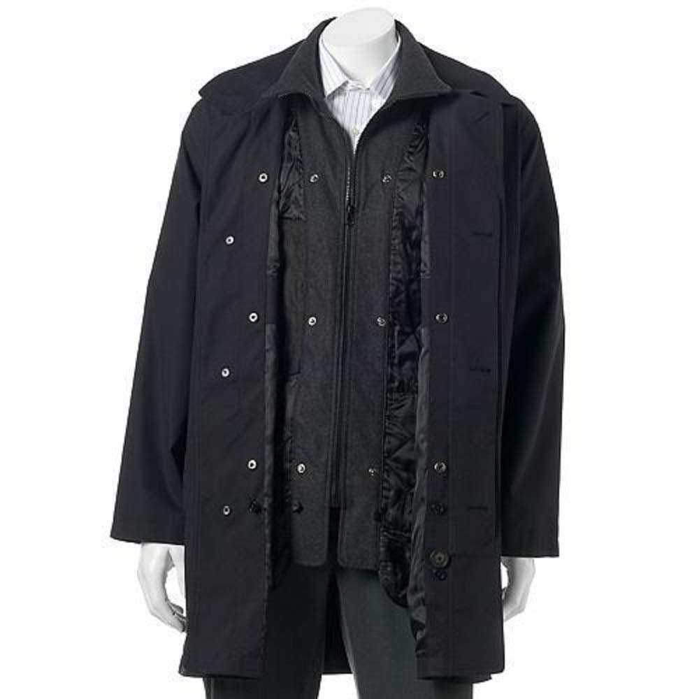 Chaps Mens Microfiber and Wool Convertible Jacket Coat