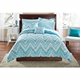 Mainstays Watercolor Chevron Bed in a Bag Coordinated Bedding Set (Queen)