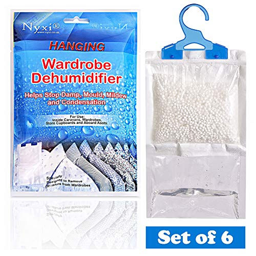 Nyxi Set of 6 Hanging Interior Wardrobe Dehumidifier - 230g Each Bag - Ideal to stop damp, mould mildew & condensation - Remove damp and improve air quality - Small and Discreet