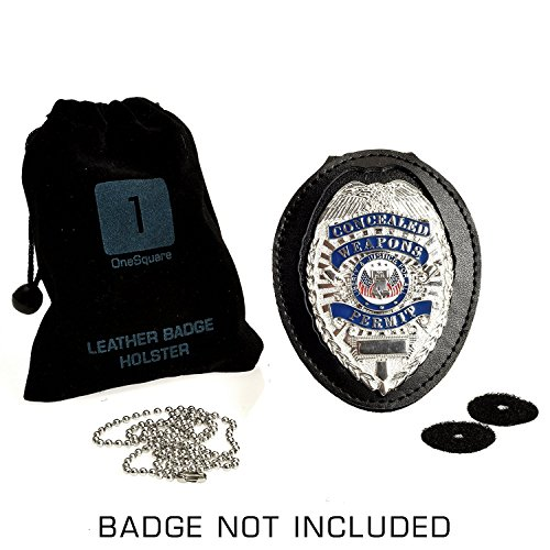 Badge Shield Holder with Leather Wrapped Heavy Duty Steel Belt Clip, Stainless Steel Necklace and Concealed Photo Pocket with Archangel Michael Wings in Thick Leather Cow Hide. LAW ENFORCEMENT GIFT Photo #6