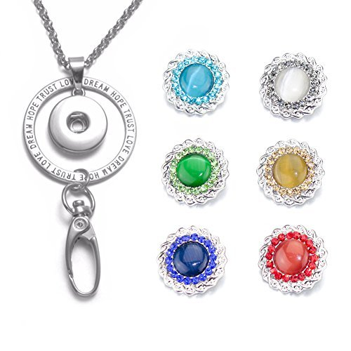 Soleebee Interchangeable 34 5 Inches Silver Chain Trust Love Id Badge Lanyard Necklace Bonus 6 Pcs Alloy Snap Buttons  Weave Opal