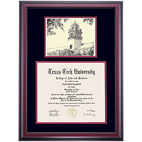 Campus Linens Texas Tech Red Raiders Diploma Frame Black Red Matting Pen & Ink - Linens Texas Tech University