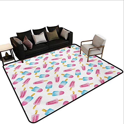 Household Decorative Floor mat,Pattern with Refreshing Watercolor Popsicles on White Background 6'6''x8',Can be Used for Floor Decoration by BarronTextile (Image #6)