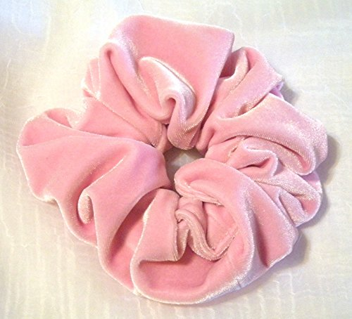 Price comparison product image Pink Velvet Hair Scrunchy-Large - Pink velvet Hair Scrunchies- Hair Scrunchies for Women- Christmas gift- Made in the USA - 6 Month Warranty