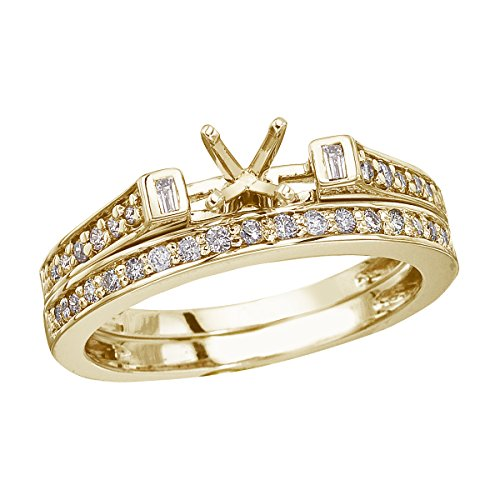 0.39 Carat ctw 14k Gold Round White Diamond Baguette Bridal Set Semi-Mount Engagement Ring Band - Yellow-gold, Size 5.5