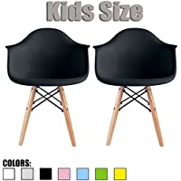 2xhome - Set of Two (2) - Black - Kids Size Eames Armchairs Eames Chairs Black Seat Natural Wood Wooden Legs Eiffel Childrens Room Chairs Molded Plastic Seat Dowel Leg…