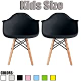 Cheap 2xhome Set of Two (2) – Kids Size Plastic Armchairs Seat Natural Wood Wooden Legs Eiffel Childrens Room Chairs Molded Plastic Seat Dowel Leg, Black