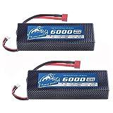 YoWoo 2 Packs 7.4V 6000mAh 60C max 120C Hard case 2S Lipo Battery for RC Cars Traxxas Slash HPI Truggy Trucks (5.43x1.81x0.98inch 0.64lb)