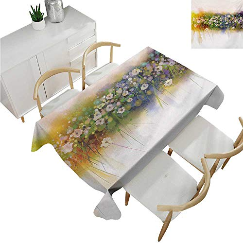 familytaste Flower,Tablecovers Rectangular,Vogue Display Wisteria Violets Wreath Fragrant Plants Herbs Spring Season Artsy,Table Cloth Cover Wedding Event Party 70