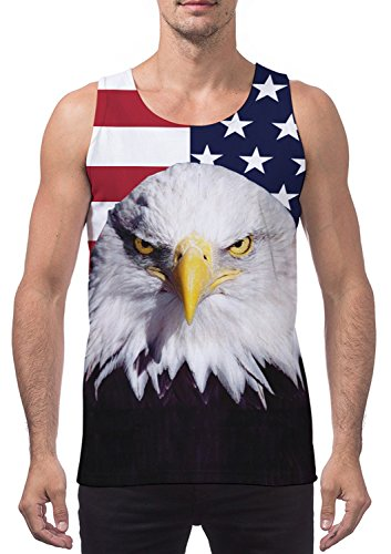 Flag Mens Tank Top (Leapparel Mens Running Tank Top Funny Graphic Printed Sport and Casual Relaxed Vest Shirt Big Size American Flag Eagle Tshirts Tees L)