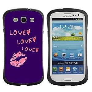 LASTONE PHONE CASE / Suave Silicona Caso Carcasa de Caucho Funda para Samsung Galaxy S3 I9300 / Heart Kiss Purple Pink Lips Valentines