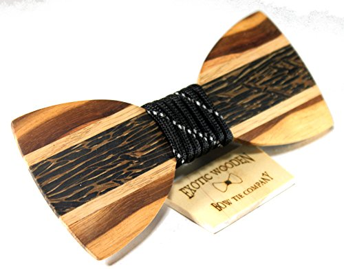 Solid Multi Exotic Woods Bow Tie with Black Para Cord Center