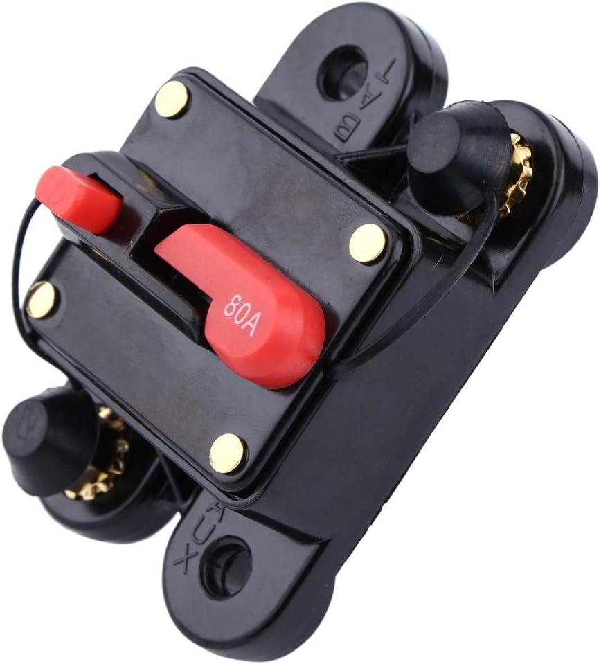 80A disjoncteur 1pc DC12V pour fusible 80-300A de r/éinitialisation Audio st/ér/éo de v/élo de Bateau de Bateau de Voiture Lazmin Mat/ériel en Alliage Disconnector /électrique