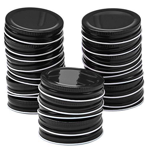 Resinta 20 Pack Regular Mouth Mason Jar Lids Silicone Seals Leak Proof Secure Mason Storage Solid Caps (Black, Regular Mouth)