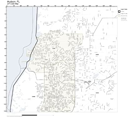 Hudson Florida Map.Amazon Com Zip Code Wall Map Of Hudson Fl Zip Code Map Laminated