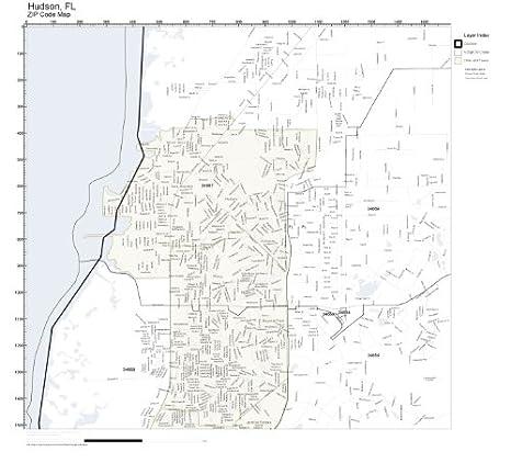 Hudson Fl Zip Code Map.Amazon Com Zip Code Wall Map Of Hudson Fl Zip Code Map Laminated